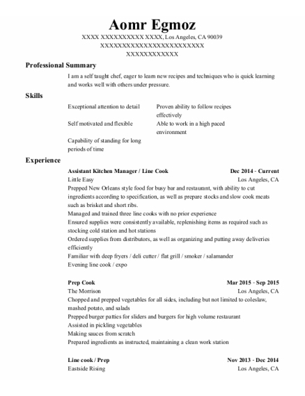 Assistant Kitchen Manager resume template California