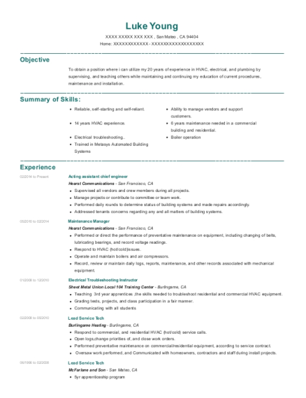 Acting assistant chief engineer resume sample California