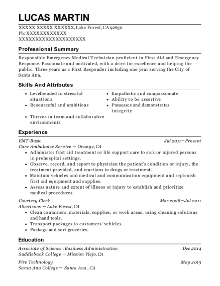EMT Basic resume template California