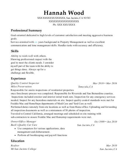 Quality Control Inspector resume format California