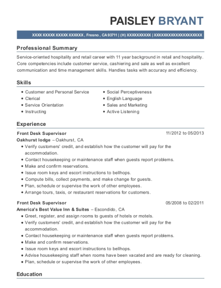 Front Desk Supervisor resume template California
