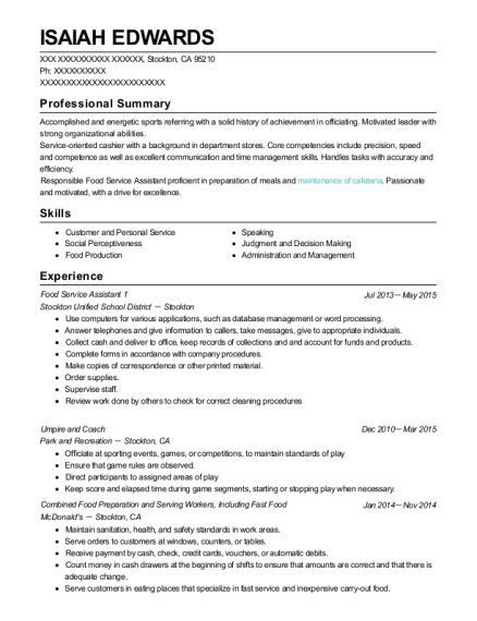 Food Service Assistant 1 resume example California