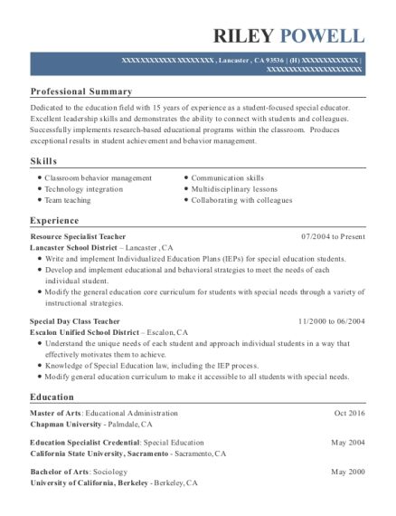 Resource Specialist Teacher resume template California