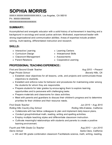 First and Second Grade Teacher resume template California