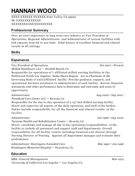 Vice President of Operations resume template California