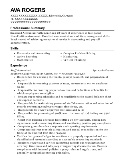 Staff Accountant resume example California
