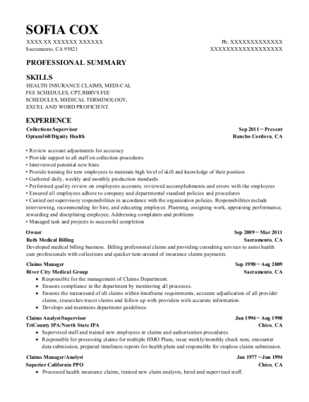 Collections Supervisor resume sample California