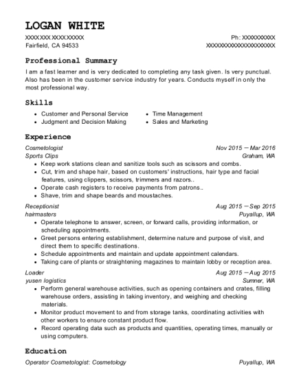 Cosmetologist resume template California