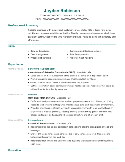 Behavioral Support Staff resume format California