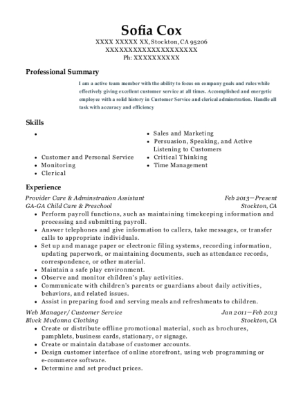 Provider Care & Adminstration Assistant resume format California