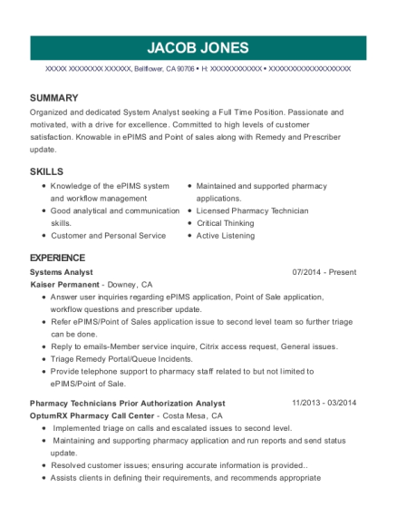 Systems Analyst resume format California