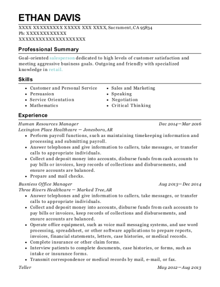 Human Resources Manager resume example California