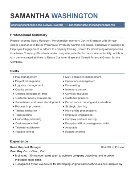 Sales Support Manager resume sample California