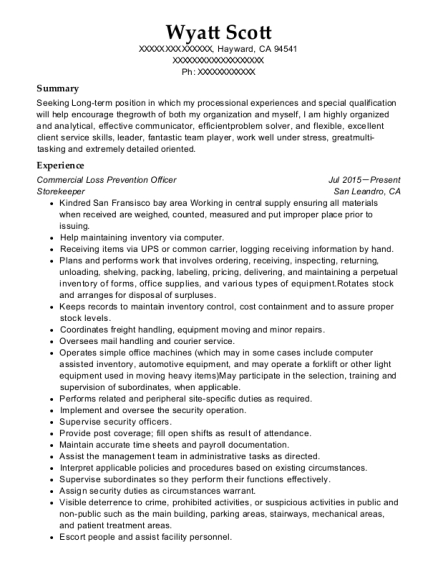 Commercial Loss Prevention Officer resume template California