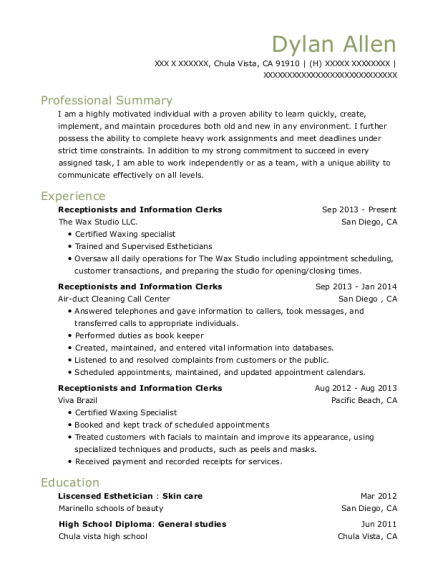 Receptionists and Information Clerks resume template California
