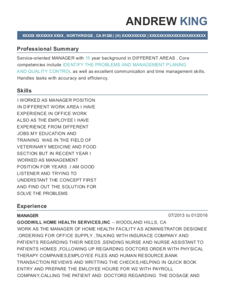 Manager resume template California
