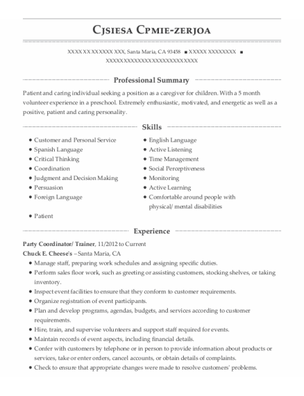 Party Coordinator resume sample California