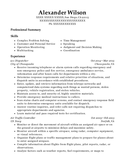 911 Dispatcher resume format California