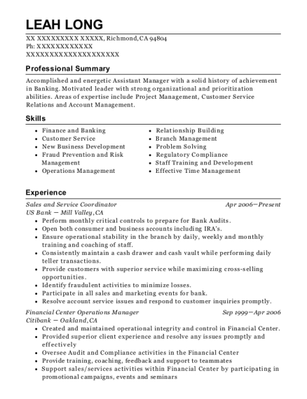 Sales and Service Coordinator resume example California