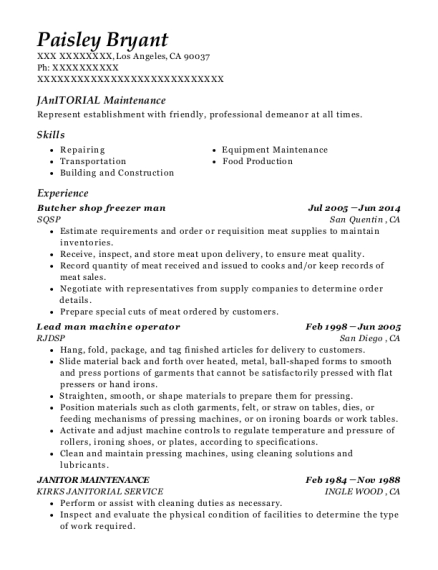 Butcher shop freezer man resume sample California