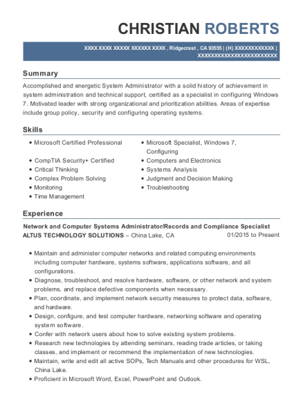 Network and Computer Systems Administrator resume sample California