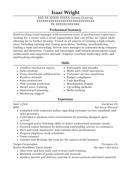 MSS resume example California