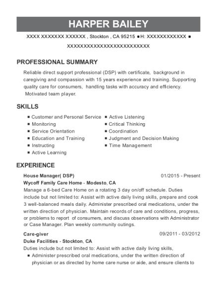 House Manager resume template California