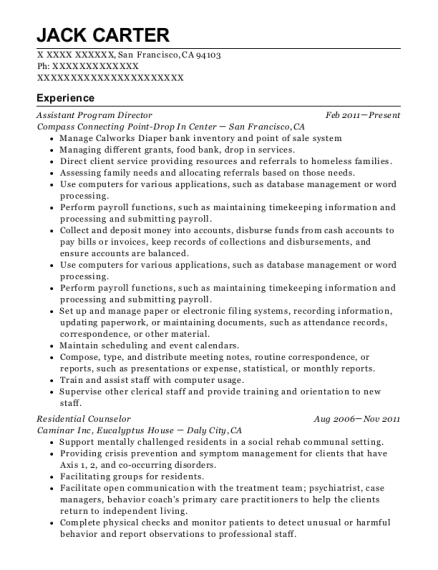 Assistant Program Director resume sample California