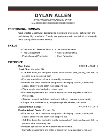Meat Cutter resume format California