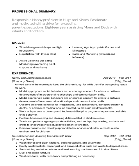 Nanny and Light Housekeeping resume sample California