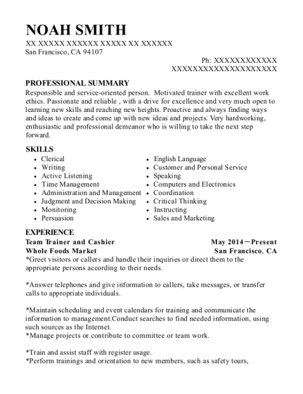 Team Trainer and Cashier resume sample California