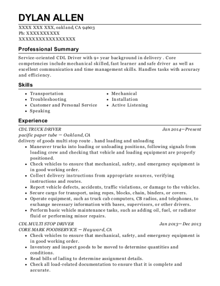 CDL TRUCK DRIVER resume example California