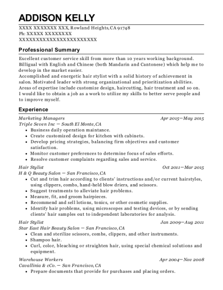 Marketing Managers resume sample California