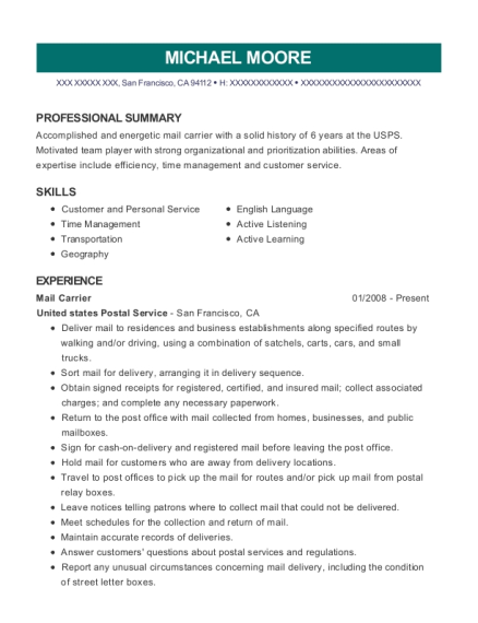 Mail Carrier resume example California