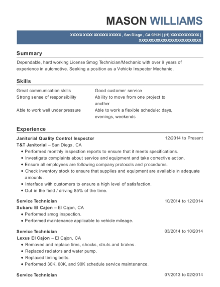 Janitorial Quality Control Inspector resume format California