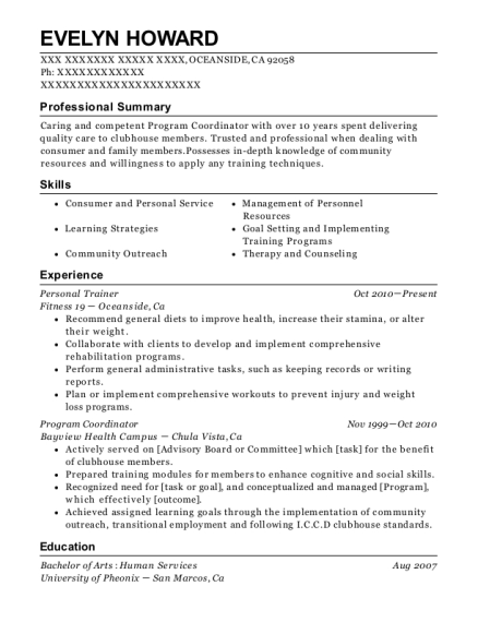 Personal Trainer resume format California