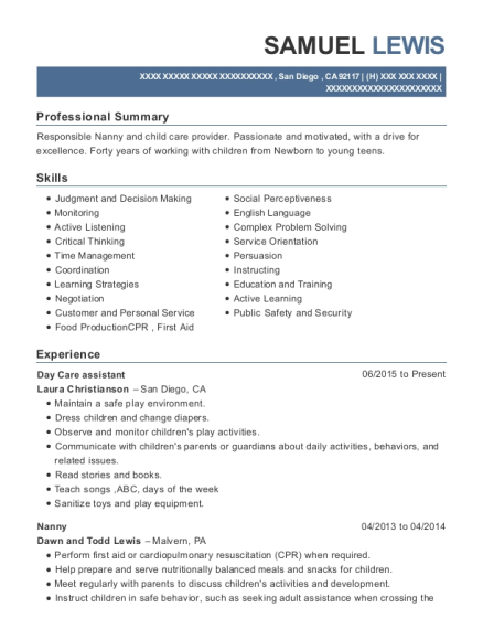 Day Care assistant resume sample California