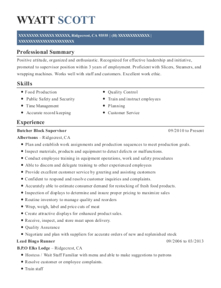 Butcher Block Supervisor resume template California