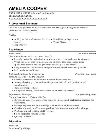 Esthetician resume example California
