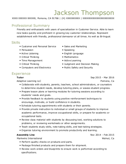Tutor resume template California