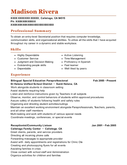 Bilingual Special Education Paraprofessional resume sample California