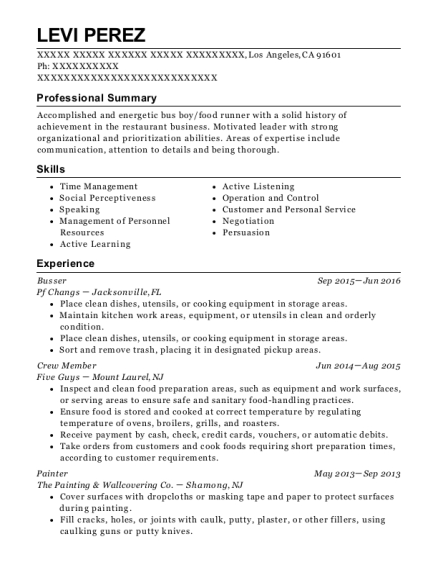 Busser resume example California