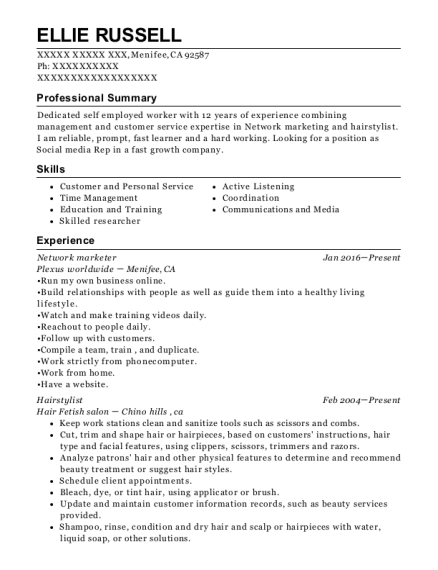 Network marketer resume format California