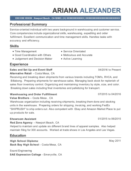 Sales and Set Up and Event Staff resume format California