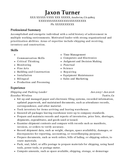 Shipping and Packing Leader resume format California