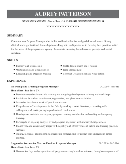 Internship and Training Program Manager resume template California