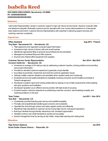 Office Assistant resume template California