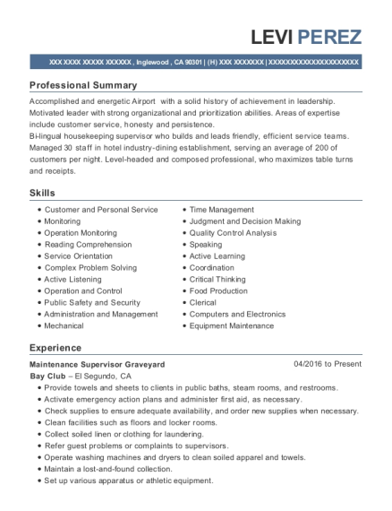 Maintenance Supervisor Graveyard resume template California