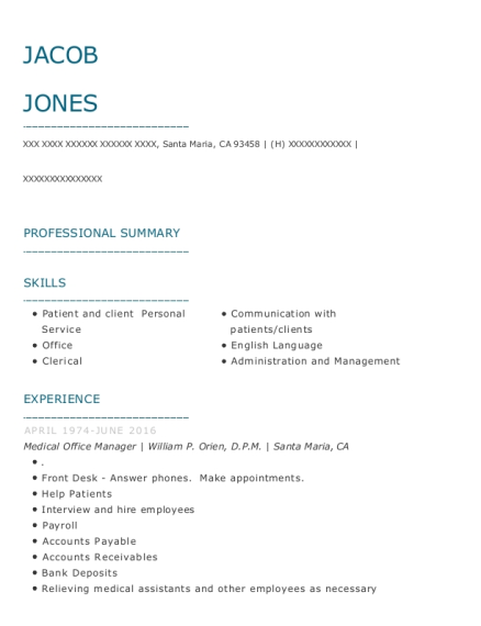 Medical Office Manager resume template California