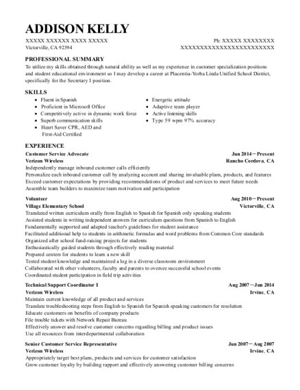 Customer Service Advocate resume example California
